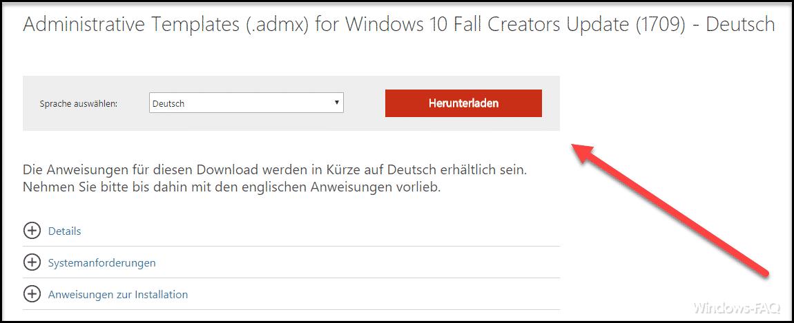 Administrative ADMX Templates für Windows 10 Fall Creators Update