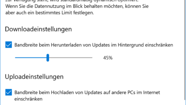 Downloadeinstellungen und Upload-Obergrenze für Windows Updates beim Fall Creators Update