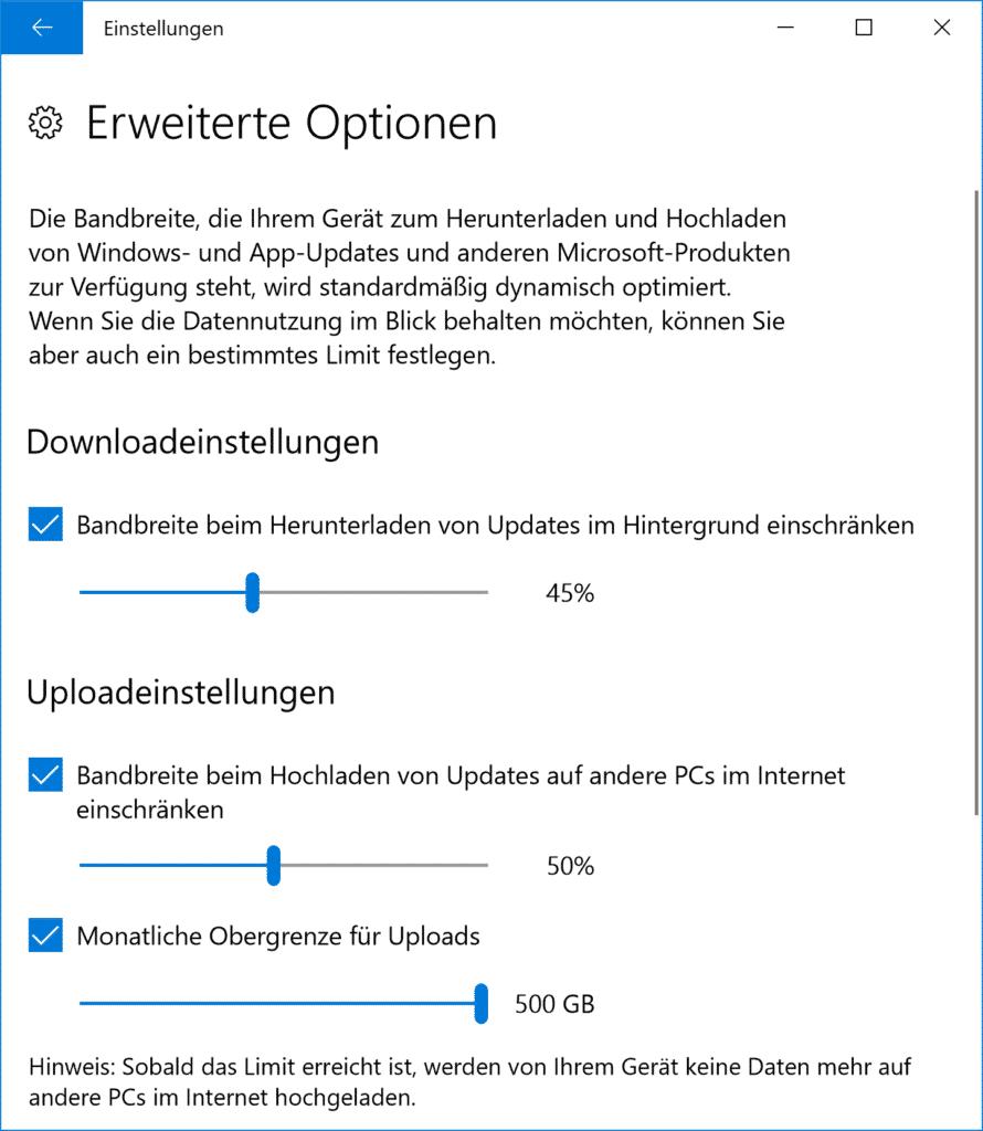 Downloadeinstellungen und Obergrenze für Windows Updates beim Fall Creators Update