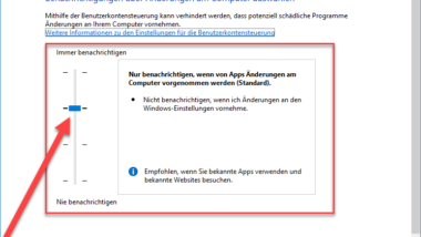 UAC bei Windows 10 ausschalten bzw. deaktivieren