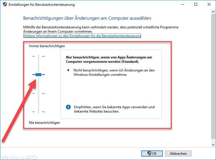 Einstellungen für Benutzerkontensteuerung Windows 10