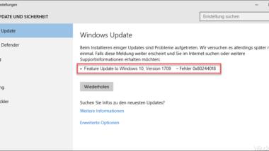 Fehlercode 0x80244018 beim Windows Update