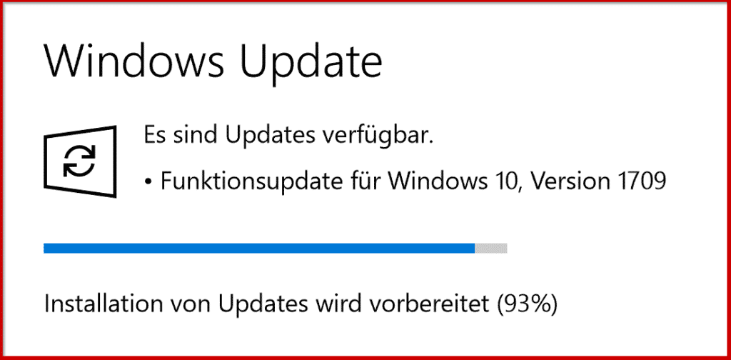 Funktionsupdate für Windows 10 Version 1709