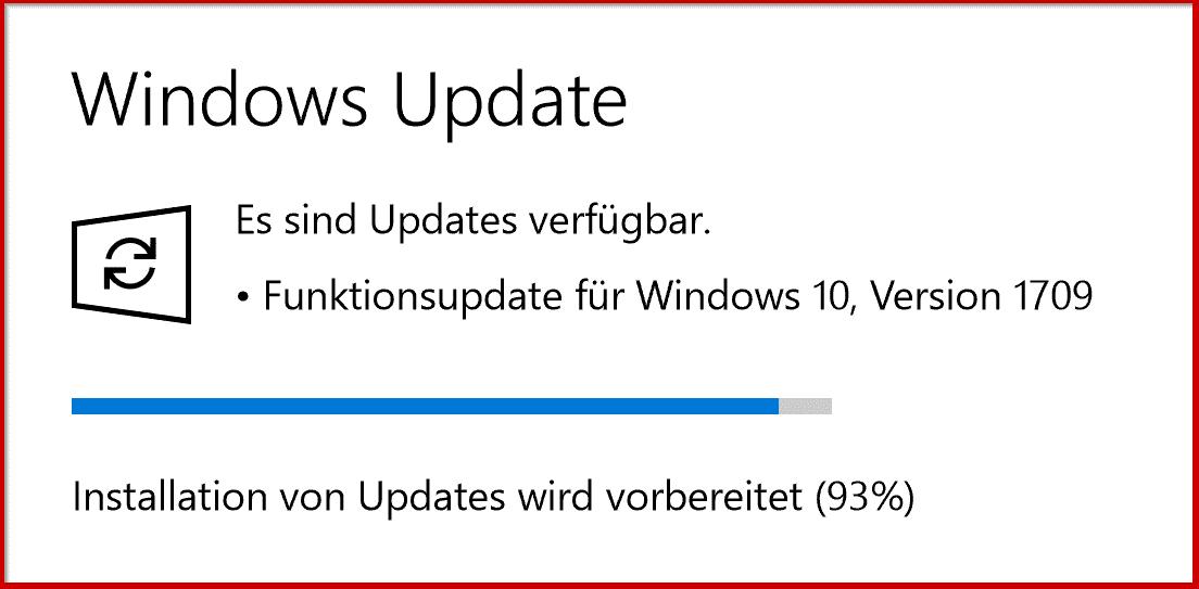 Feature Update auf Windows 10 Version 1709 Fall Creators