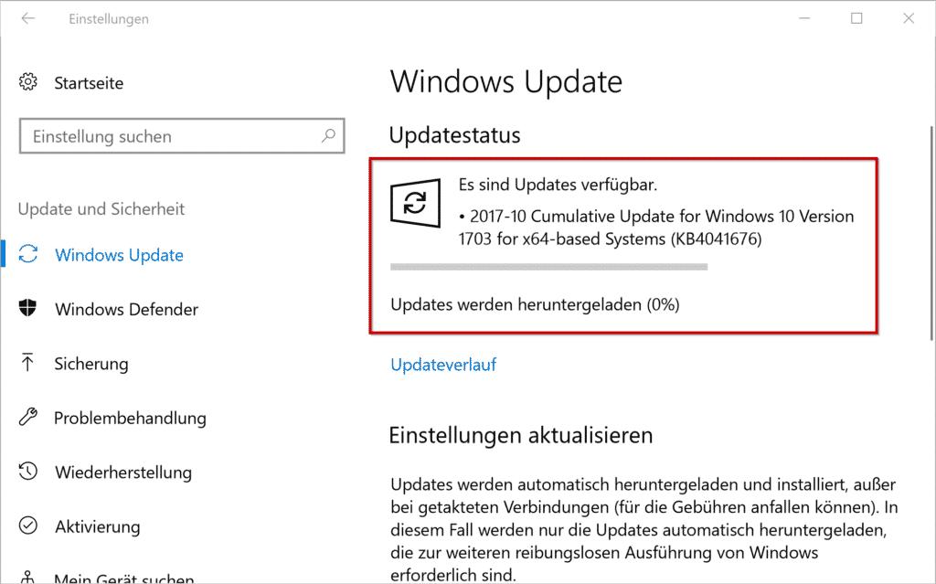 KB4041676 Update für Windows 10 Version 1703 Creators Update