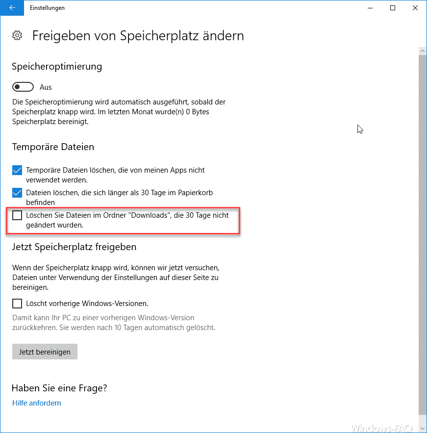 Löschen Sie Dateien im Ordner Downloads die 30 Tage nicht geändert wurden