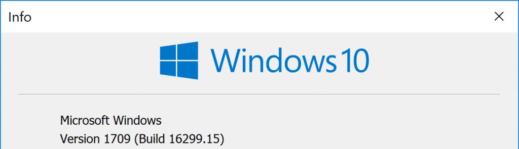 Windows 10 Version 1709 Build 16299.15