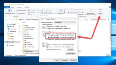 Öffnen von Dateien und Ordnern im Windows Explorer mit nur einem Klick
