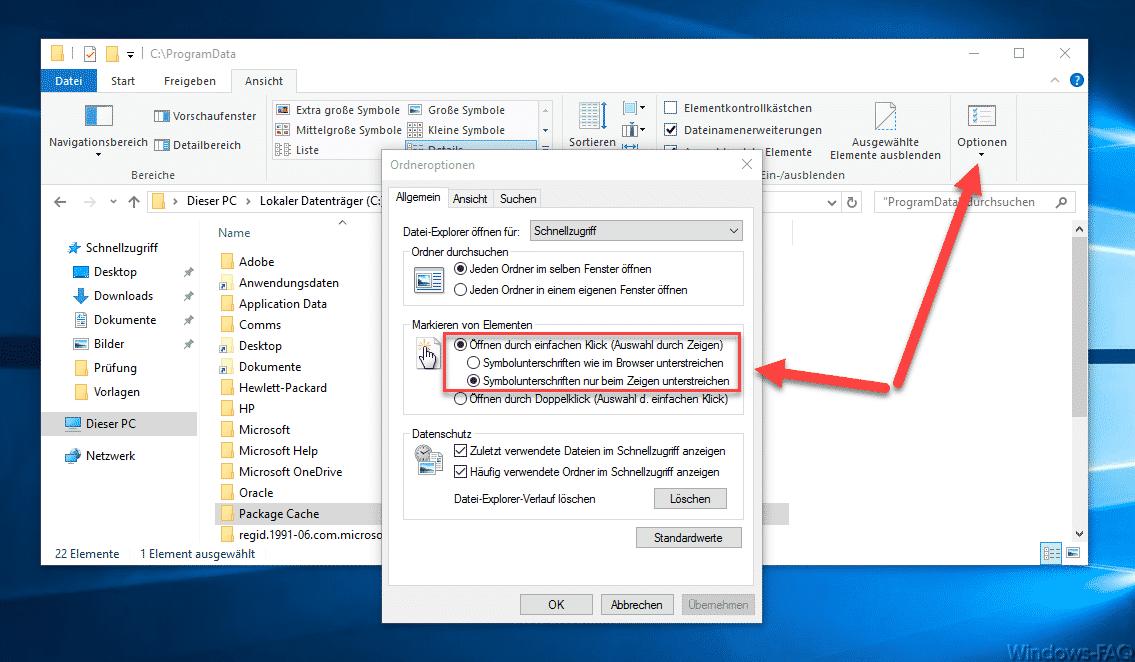 Windows Explorer Dateien nur mit einem Klick öffnen