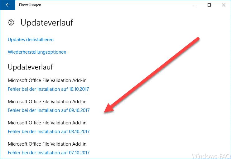 Windows Updateverlauf vor dem Löschen