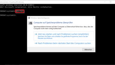RAM Diagnose mit MDSCHED (Windows-Befehl)