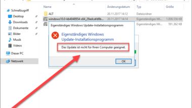 """Windows 10 Upgrade Meldung """"Das Update ist nicht für Ihren Computer geeignet"""""""