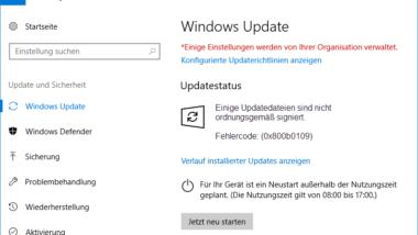 Fehlercode 0x800b0109 – Einige Updatedateien sind nicht ordnungsgemäß signiert