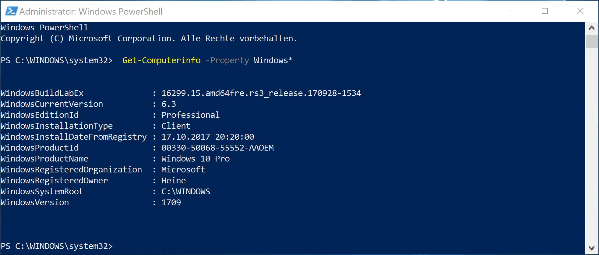 Get-Computerinfo -Property Windows