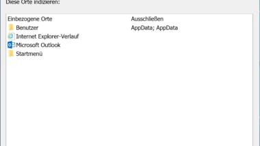 Windows 10 Indizierungs-Einstellungen (Optionen) anzeigen bzw. anpassen