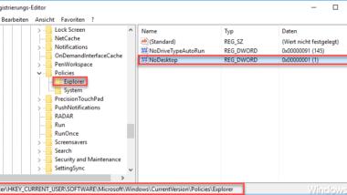 Desktop-Symbole komplett ausblenden per Registry-Änderung