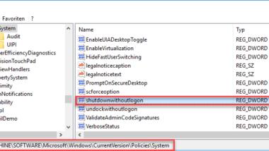 Herunterfahren Button im Windows Anmeldebildschirm anzeigen oder ausblenden