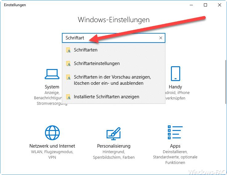 Schriftarten bearbeiten bei Windows 10