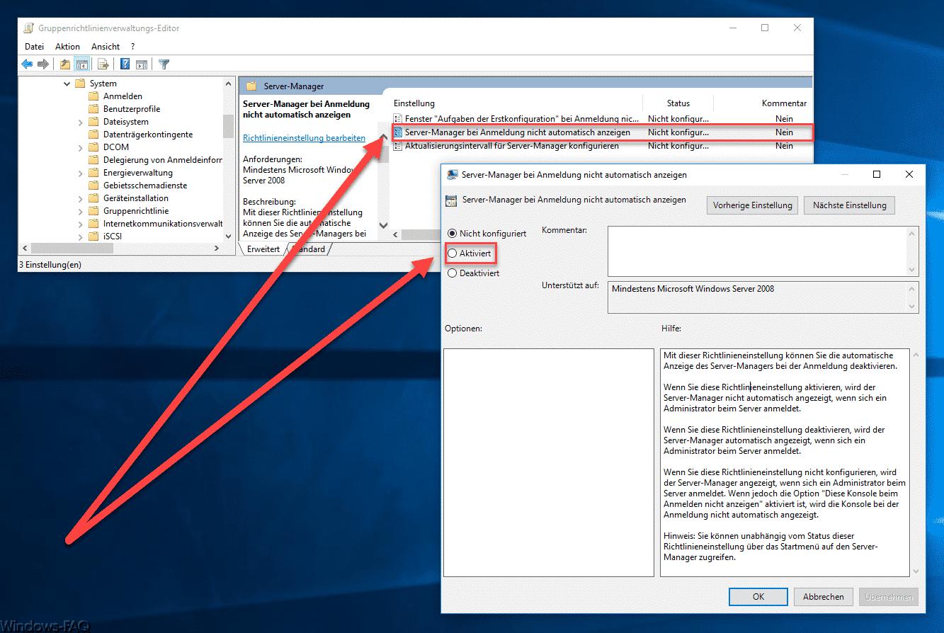Server-Manager bei Anmeldung nicht automatisch anzeigen