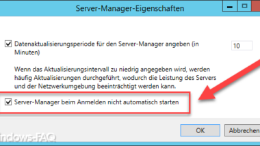 Server-Manager nach Windows Anmeldung nicht automatisch starten