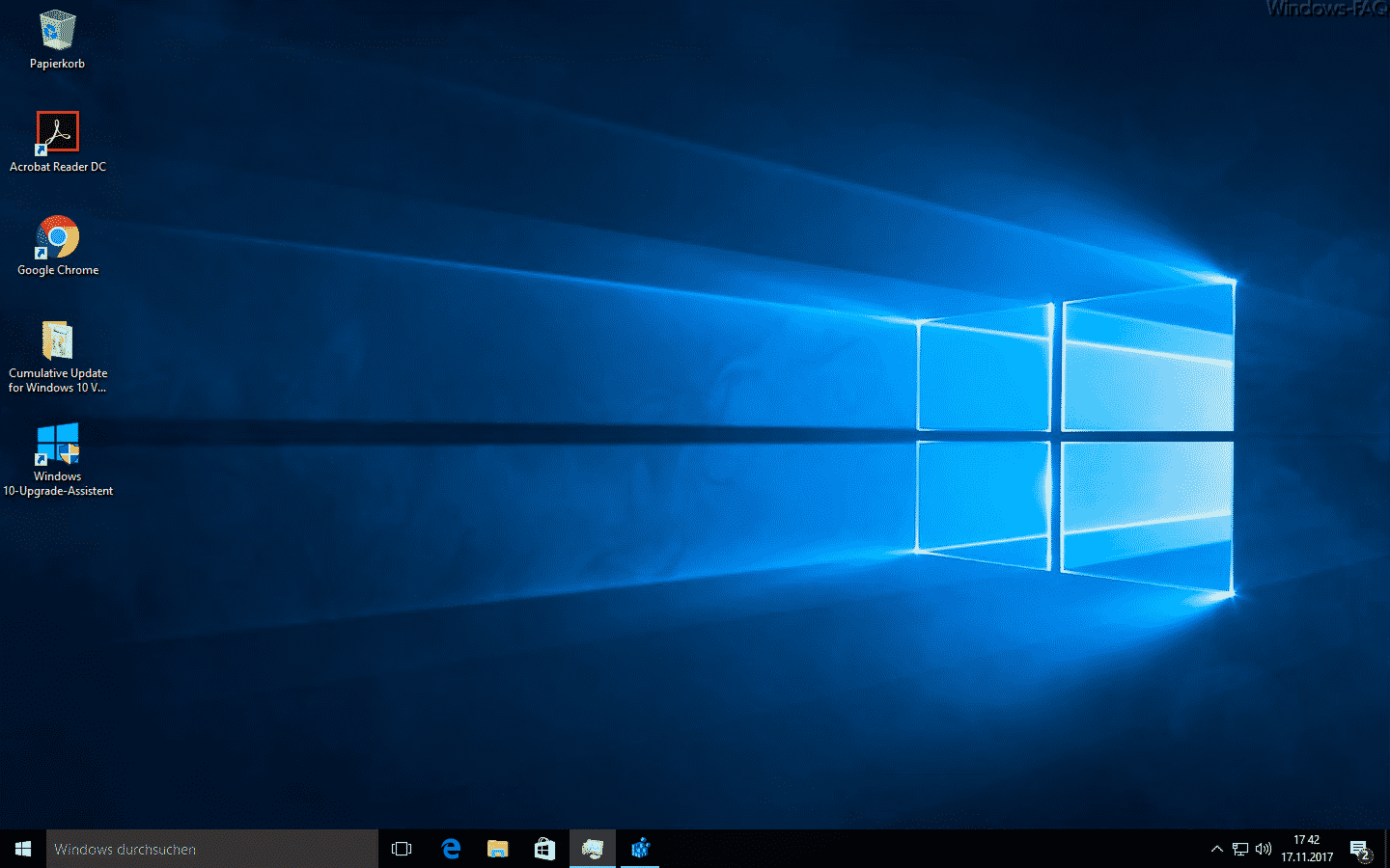 Windows 10 Desktop mit Symbolen