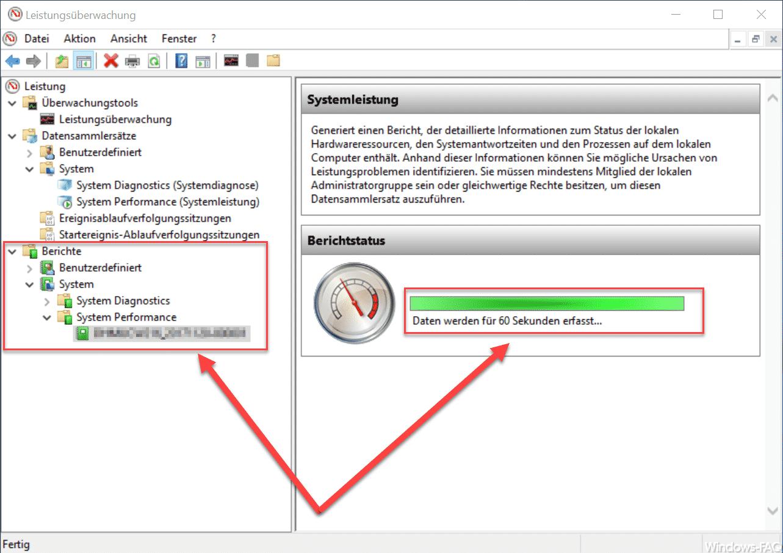 Windows Leistungsüberwachung Berichtstatus