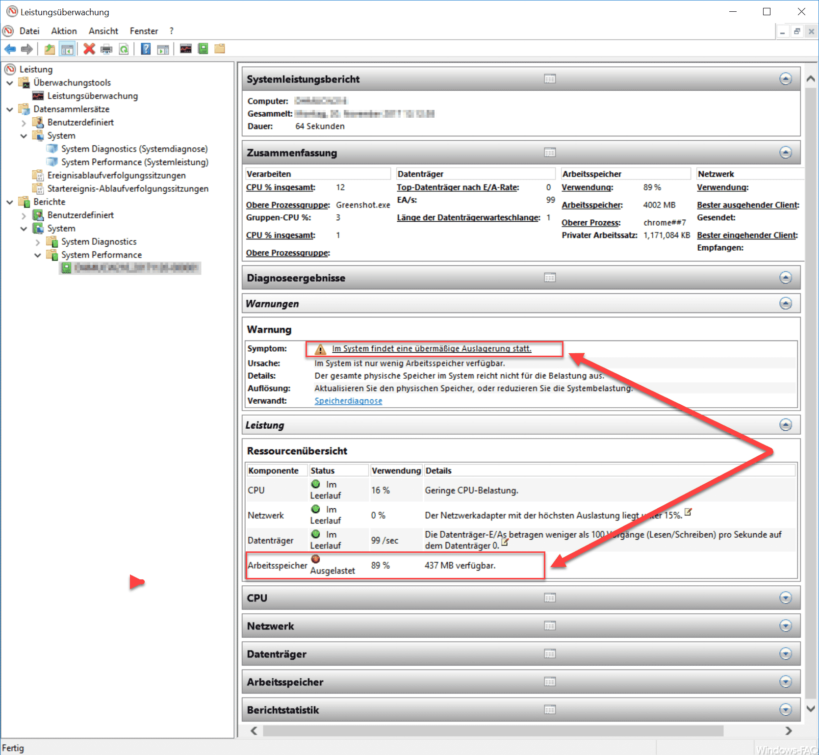 Windows Systemleistungsbericht