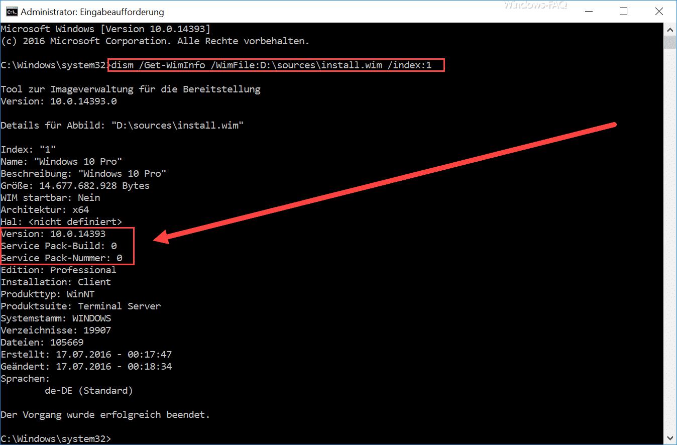 Windows Version per DISM abfragen
