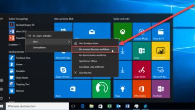 """""""Als anderer Benutzer ausführen"""" dem Windows 10 Startmenü hinzufügen"""