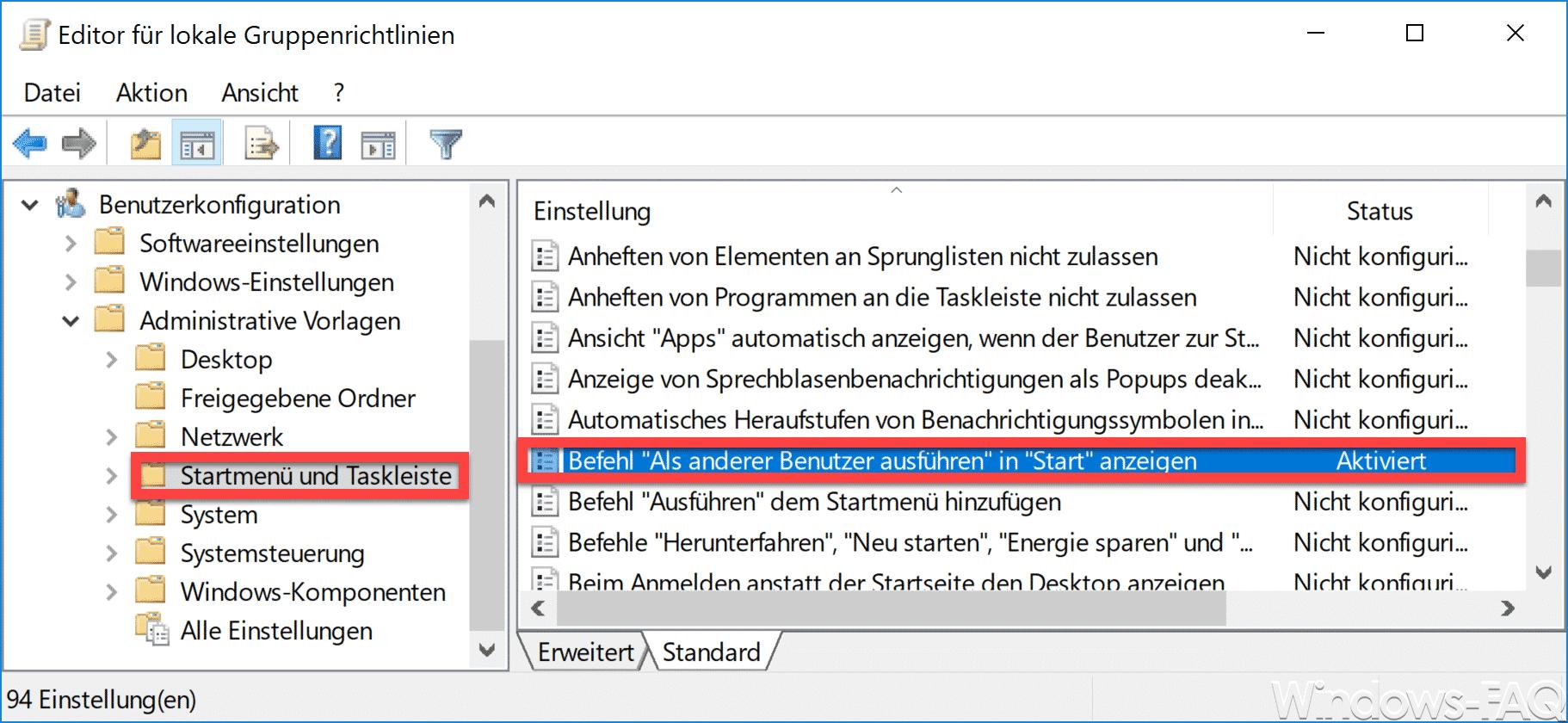 Befehl Als anderer Benutzer ausführen in Start anzeigen