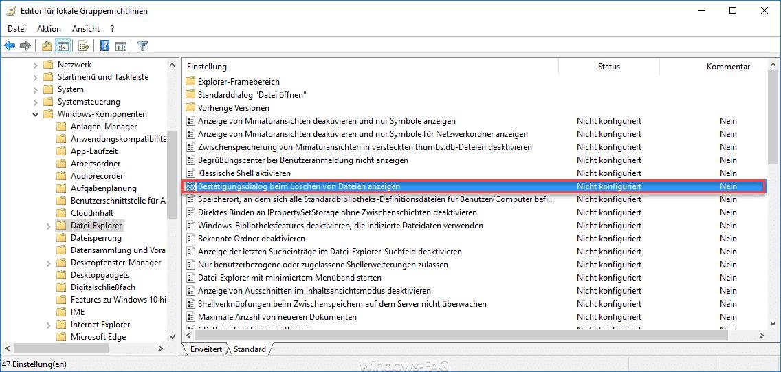 Bestätigungsdialog beim Löschen von Dateien anzeigen