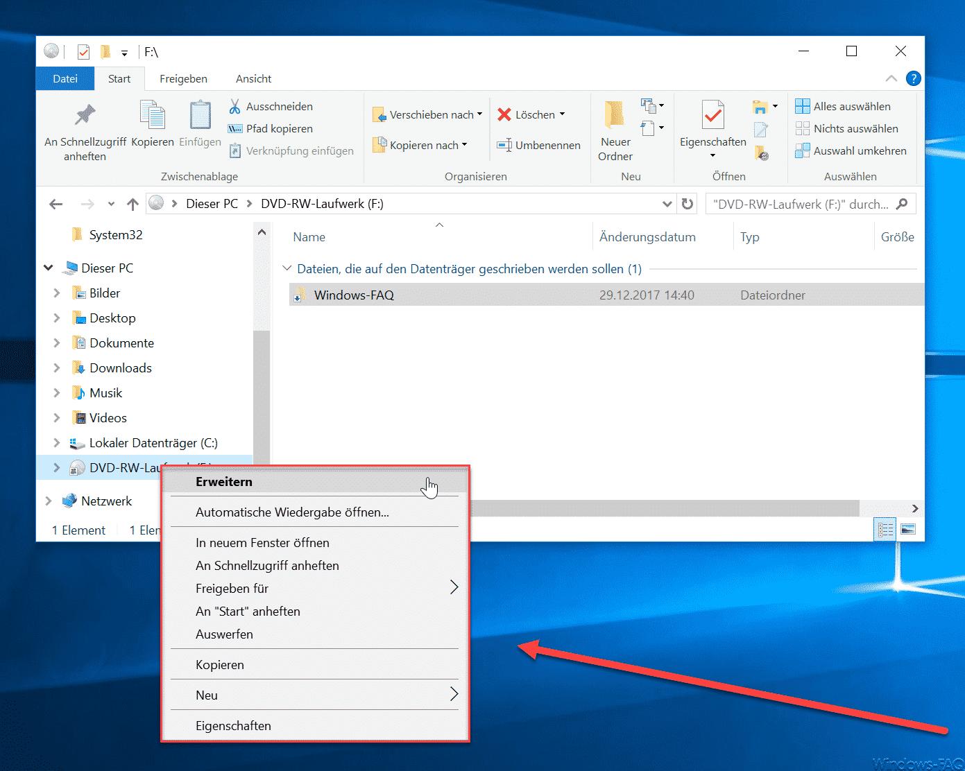 Brennfunktion aus Windows Explorer entfernt