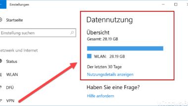 Übersicht der Datennutzung im Windows 10 Fall Creators Update