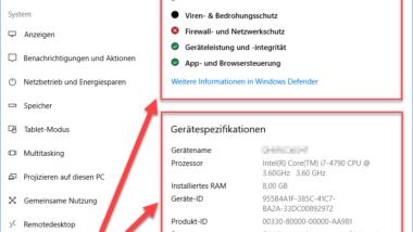 Windows 10 Betriebssystembuild-Info (Gerätespezifikationen)