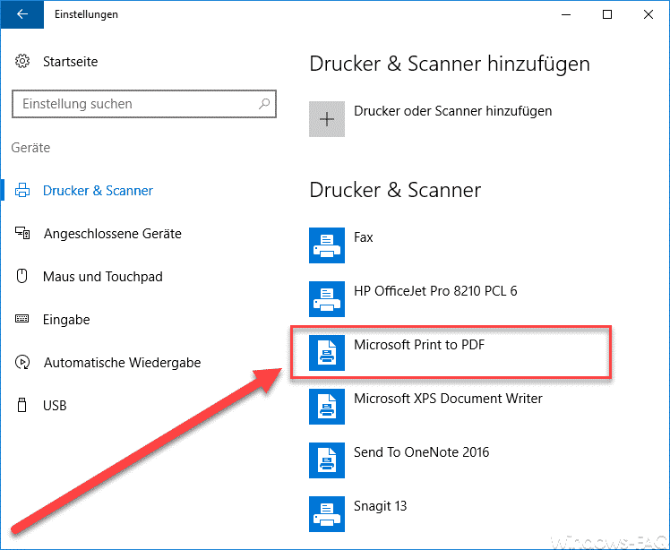 Druckerverwaltung Microsoft Print to PDF