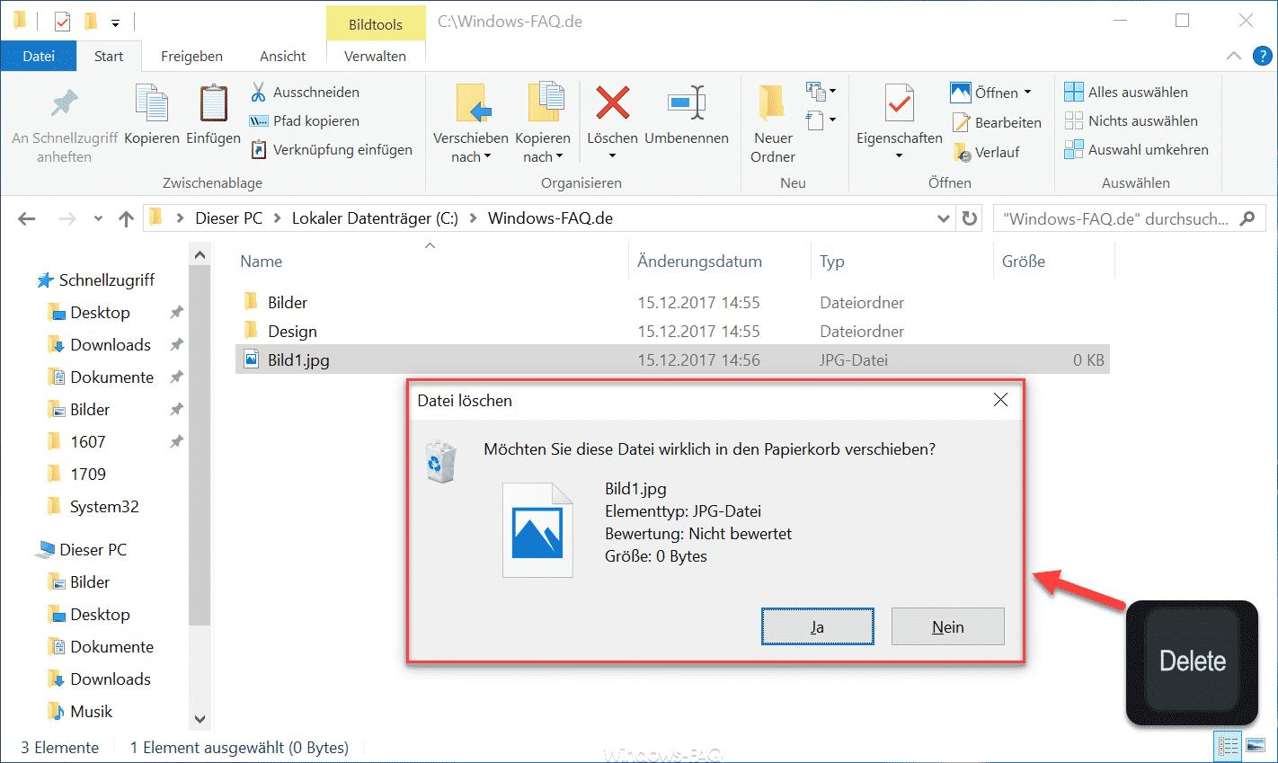 Möchten Sie diese Datei wirklich in den Papierkorb verschieben