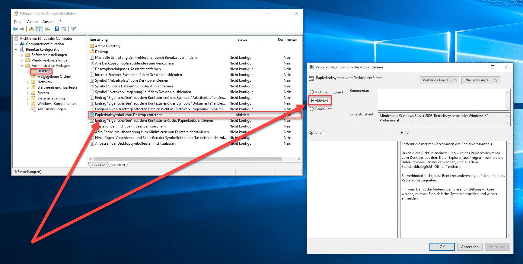 Papierkorbsymbol vom Desktop entfernen