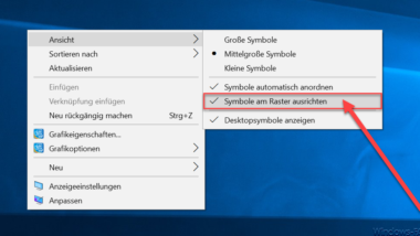 Windows 10 Desktop Symbole am Raster ausrichten