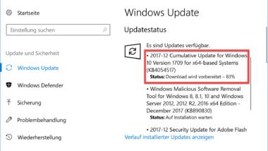 KB4054517 Update für Windows 10 Fall Creators Update 1709 Build 16299.125 Download