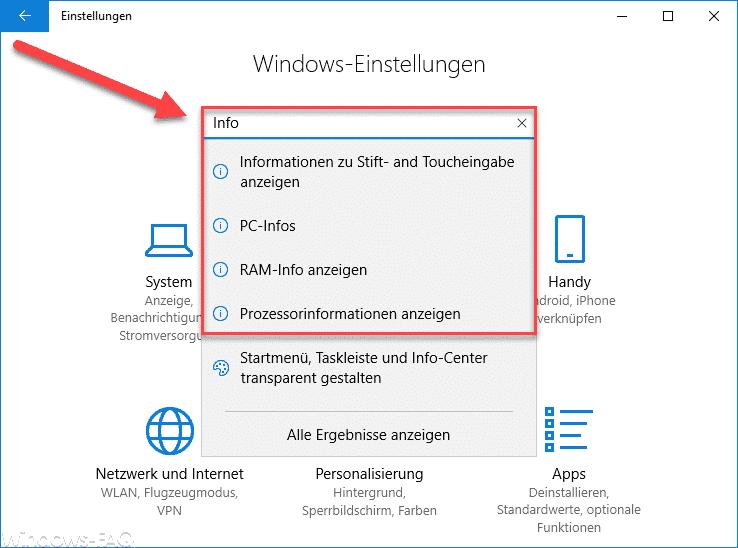 Windows 10 Einstellungen und Infos