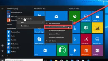 """Gruppenrichtlinie für Windows 10 Startmenü """"Als anderer Benutzer ausführen"""""""