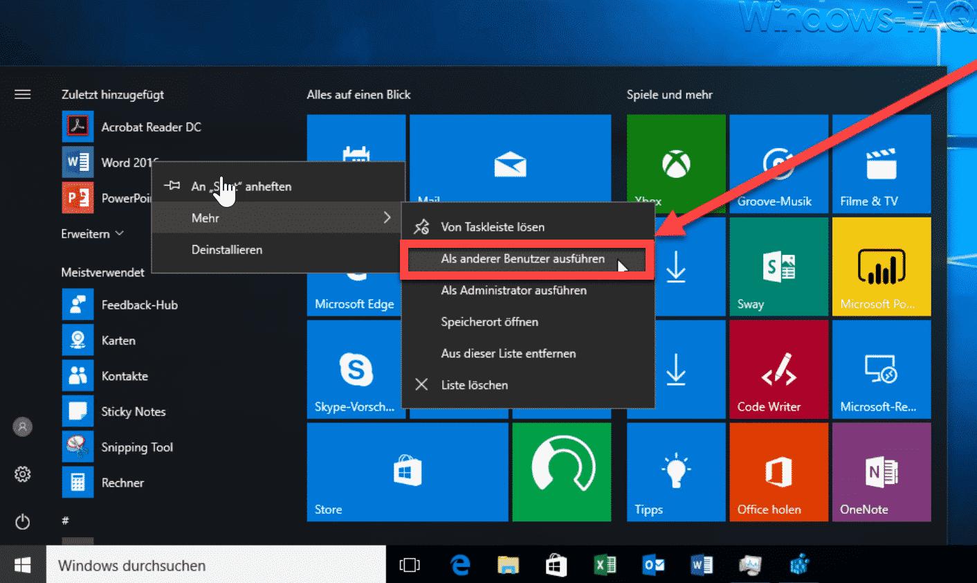 Windows 10 Startmenü Kontextmenü Als anderer Benutzer ausführen