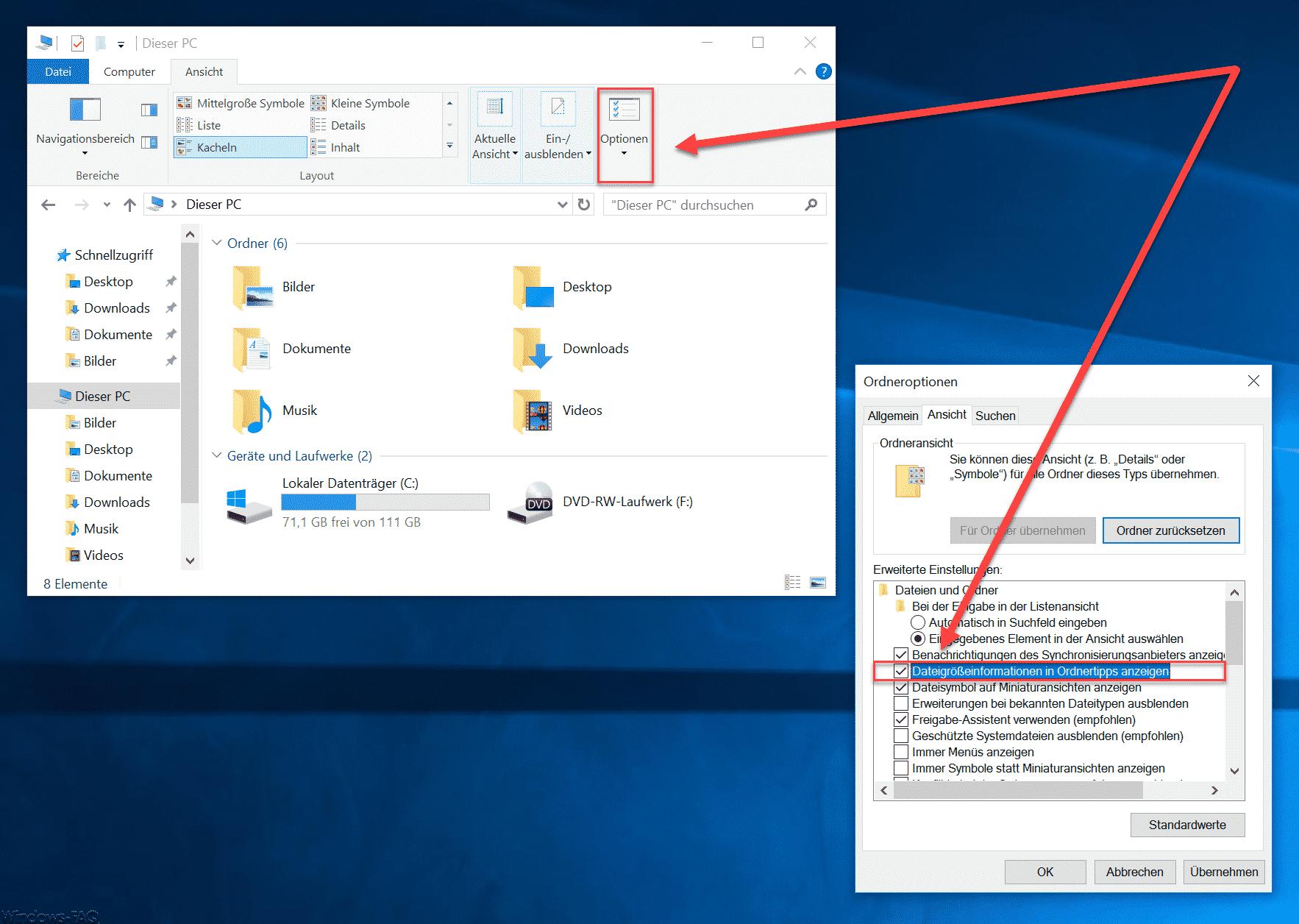 Windows Explorer Dateigrößen Information aktivieren