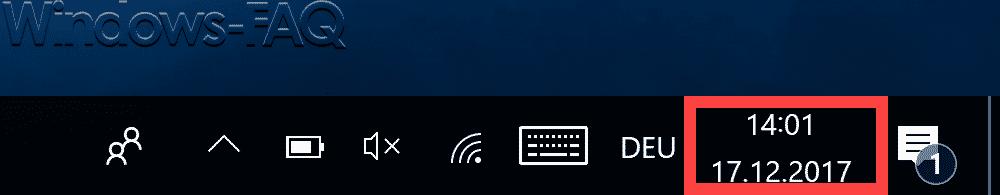 Windows Taskleiste mit Datum und Uhrzeit