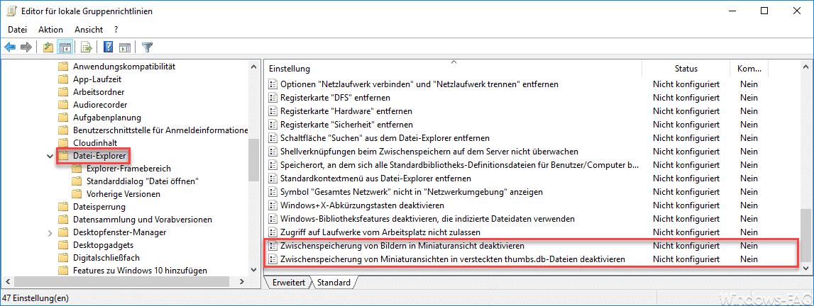 Zwischenspeicherung von Miniaturansicht deaktivieren Thumbs.db