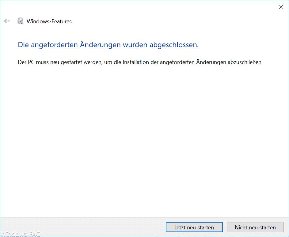 Hyper-V Die angeforderten Änderungen wurden abgeschlossen - Neustart