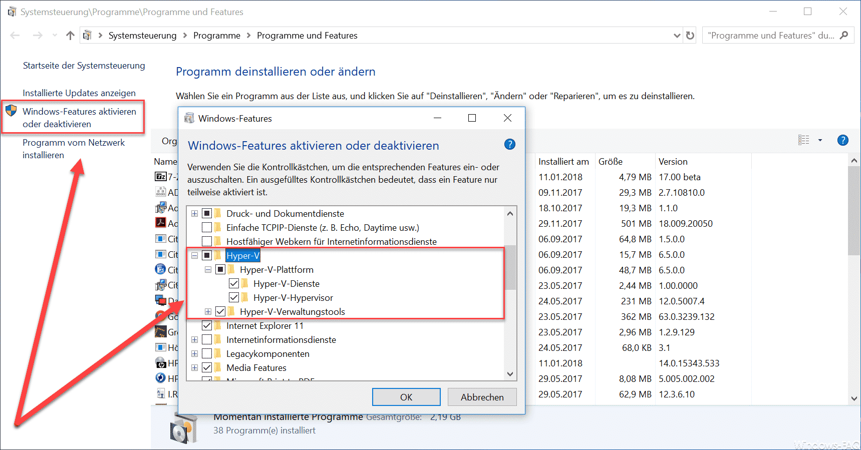 Hyper-V unter Windows 10 installieren