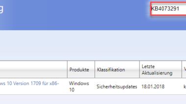 KB4073291 für Windows 10 Fall Creators Update 32-Bit Version erschienen