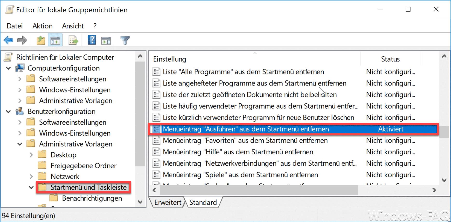 """Ausführen"""" aus dem Startmenü entfernen und für den Anwender ..."""