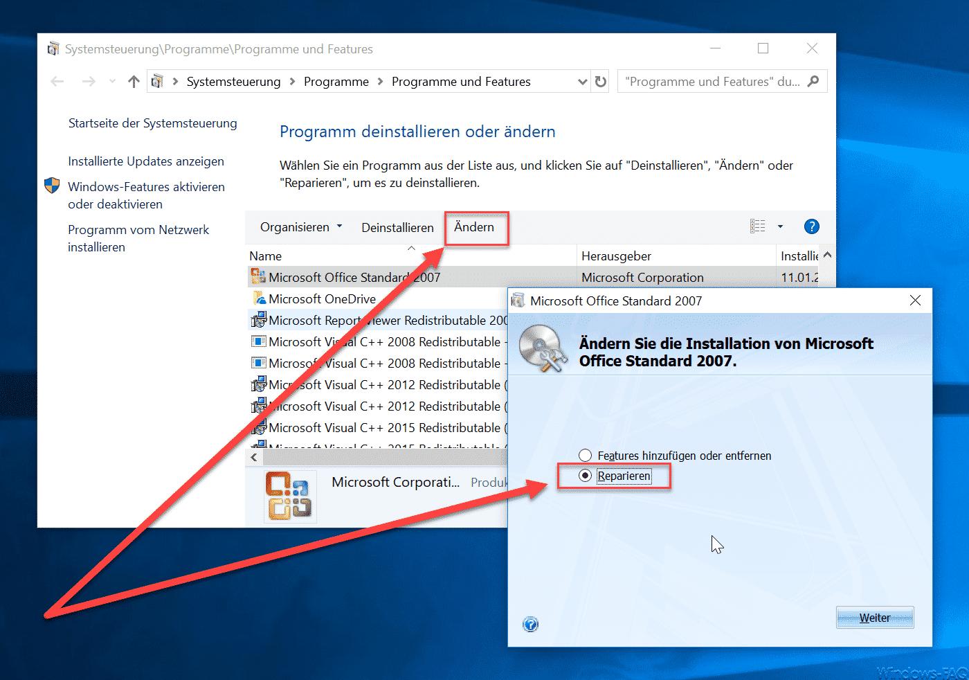 Office Installation bzw. Outlook reparieren